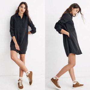 Madewell faded black denim button down shirt dress